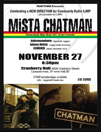 CJMP Fundraiser: Mista Chatman (and friends) Nov 27 at Cranberry Hall