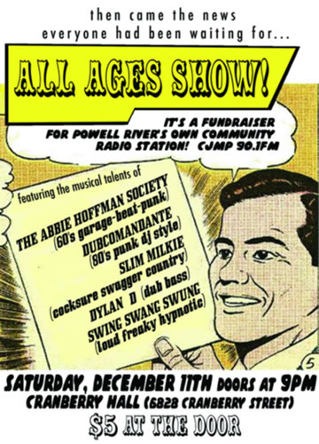 Sat. Dec 11! All Ages Show (another CJMP fundraiser too!)