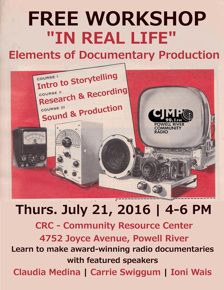 Free Workshop Thursday  July 21@ 4Pm : In Real Life: Elements of Documentary Story Production