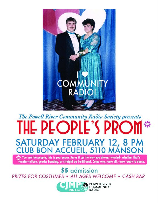 The People's Prom: Feb 12, 2011 Tickets (and PRCRS memberships!) at Breakwater Books, CMG Printing, Kingfisher Books and River City Coffee! $5