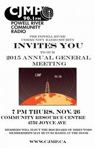 Reminder! CJMP's Annual General Meeting is on Thurs. Nov 26 at 7PM at the CRC