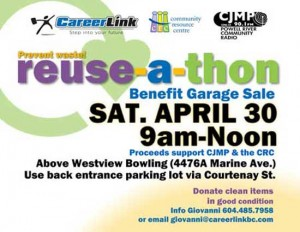 DONATE YOUR STUFF: 1st ever Reuse-A-Thon (Sat. Apr. 30, 9am-noon) for CJMP and the CRC