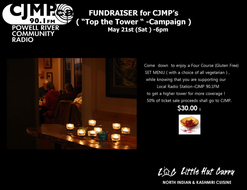Little Hut Curry Fundraiser for CJMP on Sat. May 21 @ 6PM